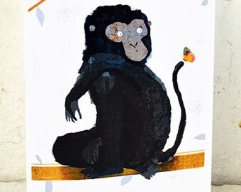 Butterfly card // greeting card // monkey illustration