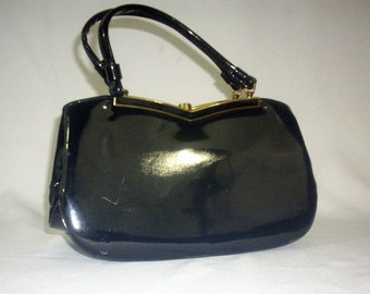 Handbag 1960's Top Handle Black Patent Leather Kiss Lock Gold Frame