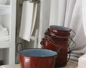 Paris FRANCE 5 piece, Red Enamel-ware French POTS, buckets. Farmhouse