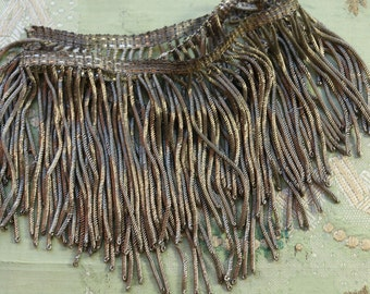 "25"" Antique metal fringe 4"" wide trim bullion silver fringe ribbonwork millinery trim flapper 1900 1920 edwardian millinery"
