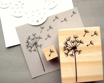 Dandelion Stamp Set of 2, Blowing Dandelion Seeds Puff Rubber Stamp