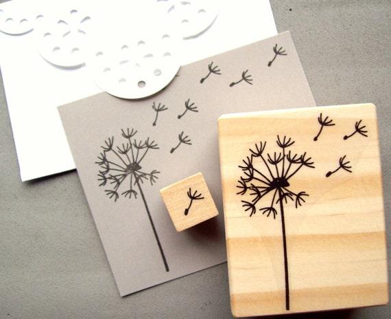 Dandelion Stamp Set of 2, Blowing Dandelion Seeds Puff Rubber Stamp