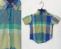 90s Toddler Boys Blue and Green Plaid Short Sleeve Button Down Oxford Shirt Hipster Preppy size 4T