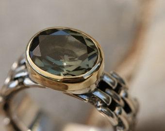 Green Tourmaline Silver Ring,Handmade Silver Ring, Tourmaline Jewelry, Size 7 1\4, Tourmaline Ring, Green Stone Ring, Birthstone Ring,