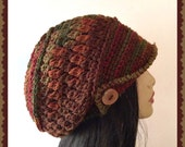 Autumn Slouch Crochet Ladies Hat with wood button and brim hat