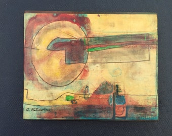 Vintage 60s Abstract Floating Painting Wall Hanging Retro Art Mid Century Modern Mixed Media Sixties Signed