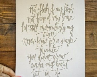 Not Under My Heart But In It Adoption Print Hand Written Calligraphy Print Digital Download Size 8 x 10