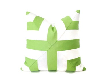 Mitered Cross Lime Green & White Stripes Pillow Cover Indoor Outdoor