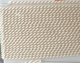 Size 2 White Silk Beading Cord with Needle Attached -  Griffin Pure Silk Thread
