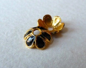 Black Cloisonné Enamel Bead Caps  - 6mm - Black/Gold - Qty 6 pcs