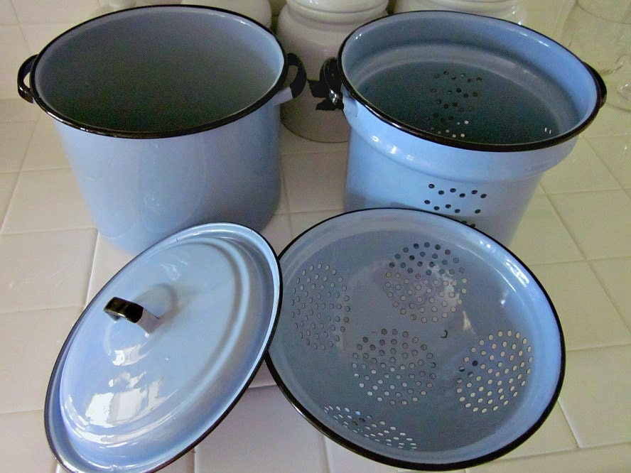 Vintage covered enamelware pasta pot with strainer and by