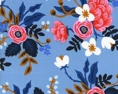 Periwinkle Navy and Coral Floral Rayon Challis, Les Fleurs By Rifle Paper Co for Cotton and Steel, Birch Floral in Periwinkle, 1 Yard