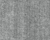 Grey and Black Herringbone Robert Kaufman Shetland Flannel, 1 Yard