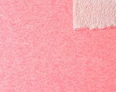 Neon Coral Pink Heathered French Terry Knit Sweatshirt Fabric, 1 Yard