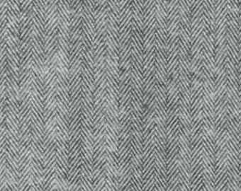Grey and Black Herringbone Robert Kaufman Shetland Flannel, 1 Yard