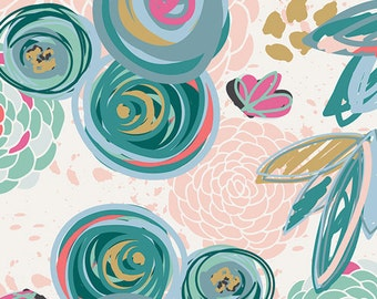 Teal Blue PInk and Mustard Floral Jersey Knit Fabric, Chalk and Paint Caroline Hulse for Art Gallery Fabric,  Sprayed Blooms Subtle, 1 Yard