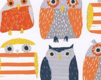 Navy Grey Orange and Yellow Owl Fabric, Wildwood Collection for Dear Stella, Owls in Multi, 1 Yard