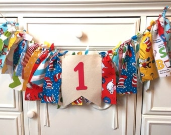 Dr. Seuss Birthday Banner 1st Birthday Highchair Banner Cat in the Hat Banner Party Decorations Smash Cake Photo Prop Banner Fabric Banner