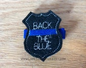 Back the blue hairclip, police badge hairbow, police hairbow, support police, girls hairbow, badge hairclip , hair accessories, hair supply