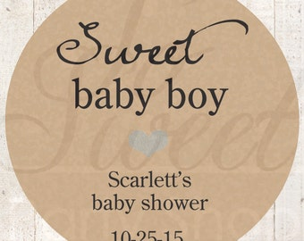 Boys Baby Shower Favor Stickers - Rustic Baby Shower Thank You Stickers - Kraft Favor Stickers - Blue Heart (Sweet Baby Boy) - Set of 24