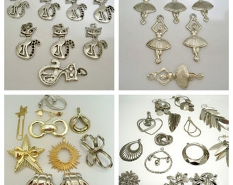 Lot of Charms and Jewelry making supplies - 40 items - Silvertone, goldtone &  brass - cheesegrits
