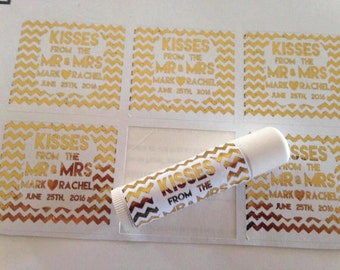 Hugs and Kisses From The Mr and MRS, Gold foiled lip balm labels various designs, wedding favors, baby showers, bridal showers, custom