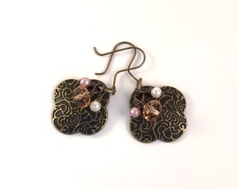 Stamped Bronze Drop Earrings