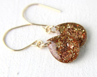 bronze gold earrings with glitter on 14 karat gold wires, bronze earrings, orange earrings, drop earrings, dangle earrings, glitter resin