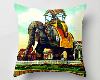Elephant Pillow Cover, Decorative Pillow, Elephant Gift Couch Pillow Throw Pillow, Vintage Elephant Hotel Margate City, NJ Lucy Elephant Art