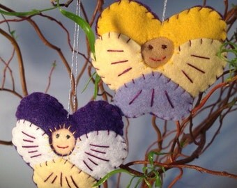Set of 2 Felt Flower Ornaments--Johnny Jump Ups Flower Children Spring Decor