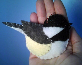 Black Capped Chickadee Felt Ornament