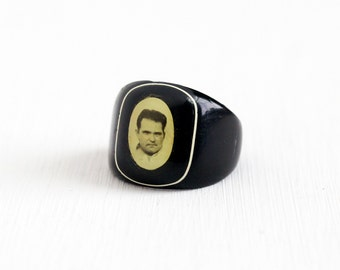 Sale - Antique Art Deco Celluloid Black Photographic Ring - Vintage 1930s 1940s Size 6 Sweetheart Mourning Prison Memorial Jewelry