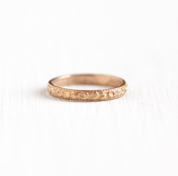 Antique 10k Rose Gold Baby Ring Band Vintage Art Deco 1920s