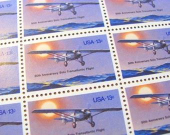 Spirit of St Louis Full Sheet of 50 UNused Vintage US Postage Stamps 1970s 13c Charles A Lindbergh Airmail Solo Transatlantic Flight Pilot