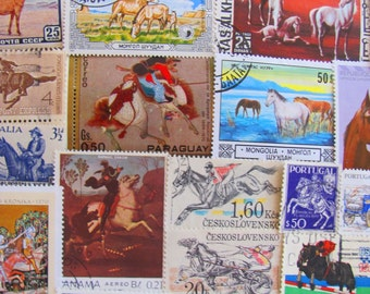 Ride Your Pony 50 Vintage Horses Postage Stamps Equestrian Horses Mammals Animals Derby Jockey Pony Colt Cowboy Ride US Worldwide Philately