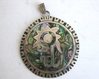 Vintage 50s Taxco Sterling Silver Abalone Inlay Mexican Necklace Pendant