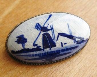 Vintage Fine Dutch 835 Sterling Silver Delft Oval Blue Porcelain Windmill Brooch Pin