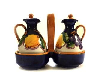 Italian Ceramic Pottery Set Olive Oil Vinegar Cruet and Dish Traditional Set from Positano Italy