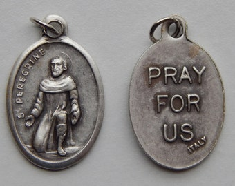 5 Patron Saint Medal Findings - St. Peregrine, Die Cast Silverplate, Silver Color, Oxidized Metal, Made in Italy, Charm, Drop, RM1201