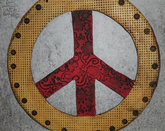 Textured Ceramic Peace Sign Wall Tile, Hand Made, Hand Painted
