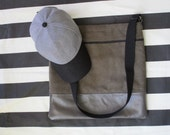 Fabric and Leather Shoulder Bag in Shades of Grey Large Size Flat Bag Lined with Pockets Outside Zippered Pocket