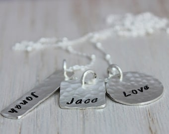 3 names personalized names mothers necklace | custom stamped names | sterling silver| mom with three kids | malisay designs mixed shapes