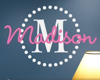 Girls Monogram Vinyl Wall Decals, Name & Initial with Circle of Dots for Your Bedroom Decor, Shown: Madison (0179c96v)