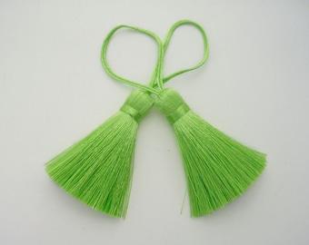 Lime Neon Green Tassel Silk Trim Fringe Jewelry Making Fashion Pendant Drapery Sewing Embellishments 2 pieces