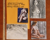 RESERVED FOR CHRISTINE: Instant Art Collection- Female Nudes,  (2 drawings and 2 watercolor) by Kenney Mencher
