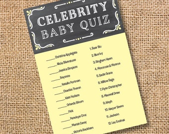 Printable Baby Shower Game Chalkboard Yellow and Gray Celebrity Baby Match Game Chalkboard Yellow Gender Neutral Twins  INSTANT DOWLOAD
