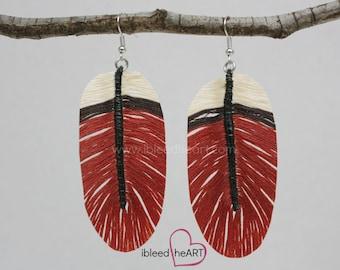 Red Breasted Robin Custom Feather Earrings - Bird Feather - Feather Jewelry - Handmade Earrings - Fake Feathers - Bohemian