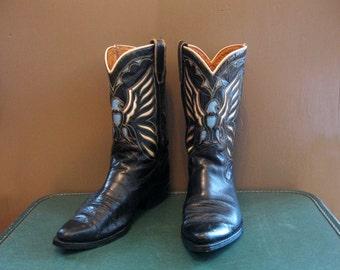 Cowboy boots  Eagle pattern  Black Leather Women size 8