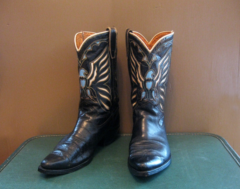 cowboy boots eagle pattern black leather size 8