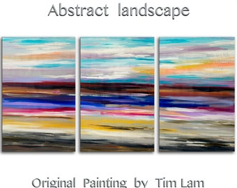 "Huge Art painting original Modern abstract painting Impasto Texture Acrylic Painting on gallery wrap canvas by Tim Lam 72"" x 36"""